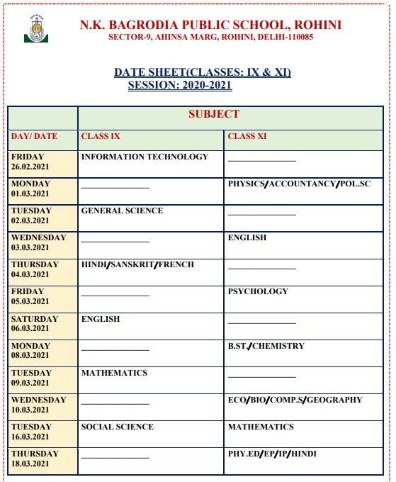 Date Sheet For Classes 9 & 11(Session: 2020 - 2021)