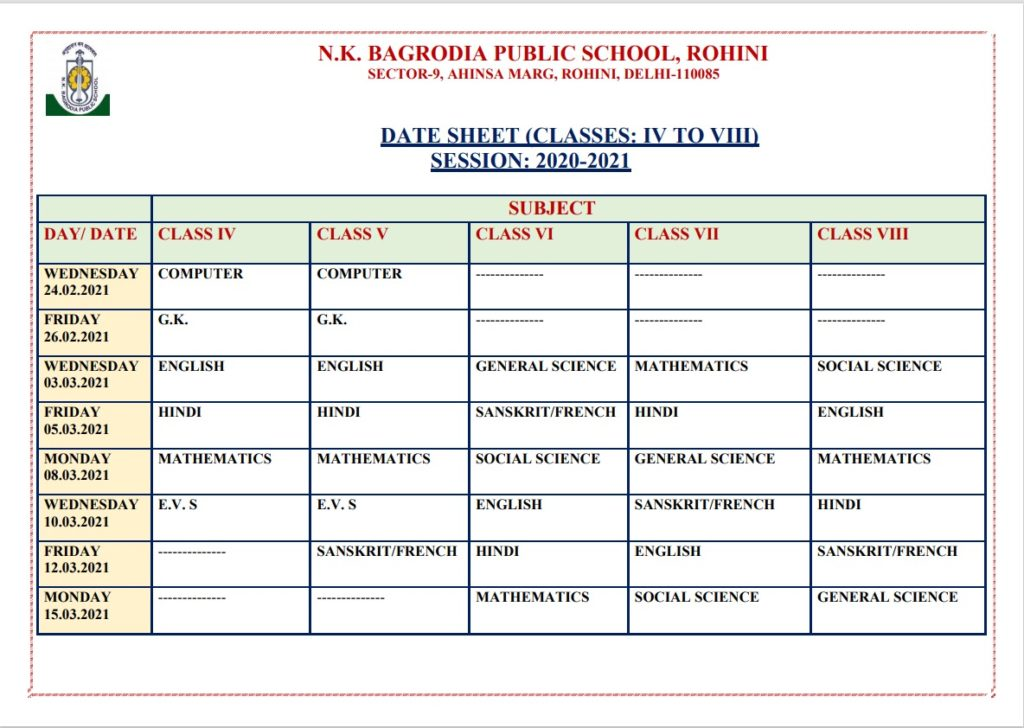 Date Sheet For Classes 4 -8 (Session : 2020 - 2021)